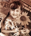 Girl with sunflowers in the Komi Republic