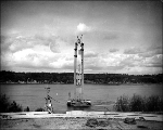 Salvage operation on the tower of the Tacoma Narrows Bridge,  1943