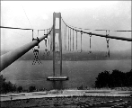 Tacoma Narrows Bridge salvage operations after the roadway was removed, ca. 1942