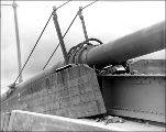 Cable and broken concrete resulting from the collapse of the Tacoma Narrows Bridge, November 1940