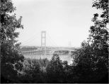 Current Narrows Bridge viewed through trees from west side, Gig Harbor, ca. 1955
