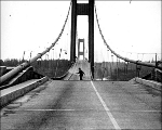 Man running off the Tacoma Narrows Bridge during collapse, November 7, 1940