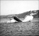 Caisson anchor sliding off barge into the water, Tacoma Narrows Bridge construction, ca. 1939