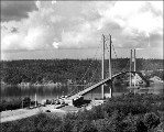 Completed Tacoma Narrows Bridge awaiting opening, June 1940
