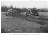 Bulldozers during the construction of North Bend Airport, North Bend, May 15, 1934