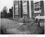 Construction workers with paving materials outside Firland Sanatorium, Shoreline, September 5, 1934