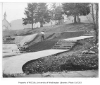 Issaquah School grounds being regraded and the bulkhead being built, Issaquah, January 7, 1935
