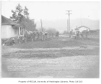 Road construction and regrading crew working on 3rd Avenue S.E., Bothell, December 13, 1934