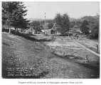 Issaquah School grounds being regraded above tennis court construction, Issaquah, October 16, 1934