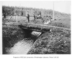 Beaver Lake Creek overflow ditch being dug at Baker's Ranch, Sammamish, December 20, 1934