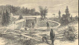 View of Salmon-Pens and Spawning-Shed, Bucksport, Me.From Harper's Magazine