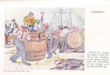 Coopering : Before the voyage the casks to hold the oil are put together on the docks, stowed with...