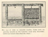 Claie or movable wooden frame used for growing mussels in the Lamotte canal near Marseilles(After...