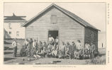 Native laborers moving hospital building, St. Paul Island, August 24, 1914