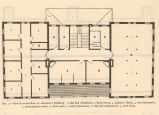 Plan of secont floor of laboratory building. 1, six bed chambers; 2, linen closed; 3, janitor's...