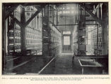 Interior of one wing of hatchery at Put-in Bay, Ohio, showing four batteries and the tanks (left...