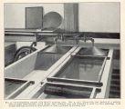 Trout-hatching troughs with Merrill aerating cone... Shows also tray basket of a pattern used at...