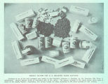 Weekly Ration for U. S. Soldiers Taken Captives : Contents of one of the food packages sent weekly...