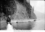 Woman near Lake Crescent, probably on the Olympic Peninsula