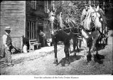 People with a horse-drawn cart, probably pioneers on the Olympic Peninsula