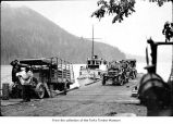 Boat Betty Earles unloading passengers at the pier on Lake Crescent in Fairholm