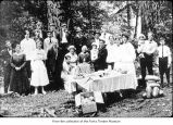 Forks Independent Order of Odd Fellows picnic in 1917, probably on the Olympic Peninsula