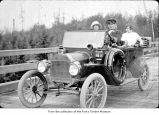 Women in a Ford car, probably on the Olympic Peninsula in the 1910s