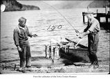 Men with trout caught in Lake Crescent, Clallam County