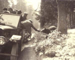 Visitors being transported in auto stages, or tour buses, feeding a bear alongside a road, Mount...