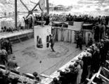 Governor Clarence D. Martin formally placing first concrete in dam, December 6, 1935