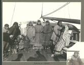 Eskimo women and children on the deck of a whaling ship, Port Clarence, Alaska, July 1899.
