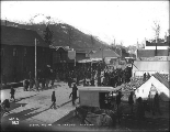 Crowd gathered outside the Skagway Post Office to receive mail, Alaska, ca. 1899.