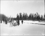 Horse drawn sleds hauling freight for the Trans Alaska Co. on Otter River, Alaska, November 13,...