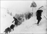 Klondikers with supply caches caught in snow storm on Chilkoot summit, Alaska, 1898.
