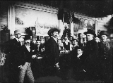 Bar at the grand opening of the Opera House, Dawson, Yukon Territory, July 4, 1899.