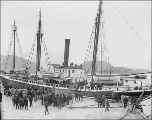 Steamer JEANIE at dock, Unalaska, Alaska, ca. 1899.