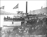 Arrival of the steamboat MONARCH at Dawson, Yukon Territory, July 21, 1898.