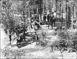 Klondikers gathered at the Bonanza Park Mineral Springs, probably on Bonanza Creek, Yukon...