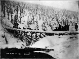 Dogsled crossing bridge over Dominion Creek during winter, Yukon Territory, ca. 1898.
