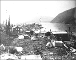 Dawson looking south showing hospital buildings, Yukon Territory, ca. 1898.