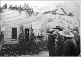 Crowd gathered for the opening of the Martony Café, Dawson, Yukon Territory, ca. 1899.