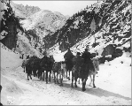 Packtrain in Cutoff Canyon, White Pass Trail, Alaska, March 20, 1899.