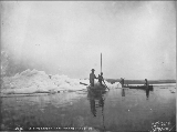 Klondikers with their boats blockaded by ice on Marsh Lake, Yukon Territory, June 8, 1899.