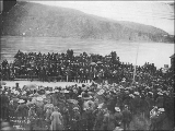 Crowd gathered for Victoria Day celebration, Dawson, Yukon Territory, May 24, 1899.