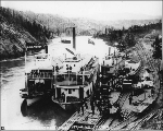 Steamboats GLEANER and AUSTRALIAN at the terminus of portage tramway company at Miles Canyon...