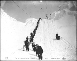 Line of Klondikers ascending Chilkoot Pass, Alaska, 1898.