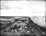 Bird's-eye view looking east from center of Nome showing the waterfront, Alaska, ca. 1900.