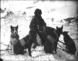 Ben Atwater, mail carrier, with his dogsled team, Yukon Territory, ca. 1898.