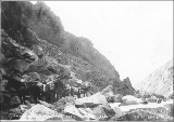 Packtrain on White Pass Trail near the ford crossing the Skagway River, Alaska, September 3, 1898