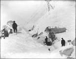 Summit of Chilkoot Pass depicting aftermath of the April 3, 1898 avalanche, Alaska.